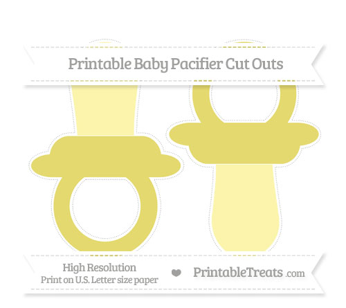 Free Straw Yellow Large Baby Pacifier Cut Outs