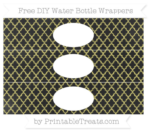 Free Straw Yellow Moroccan Tile Chalk Style DIY Water Bottle Wrappers