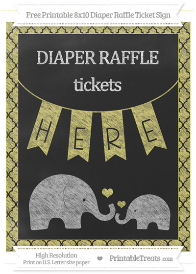 Free Straw Yellow Moroccan Tile Chalk Style Elephant 8x10 Diaper Raffle Ticket Sign