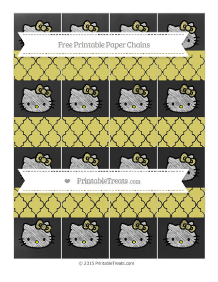 Free Straw Yellow Moroccan Tile Chalk Style Hello Kitty Paper Chains