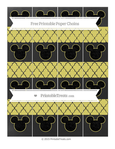 Free Straw Yellow Moroccan Tile Chalk Style Mickey Mouse Paper Chains