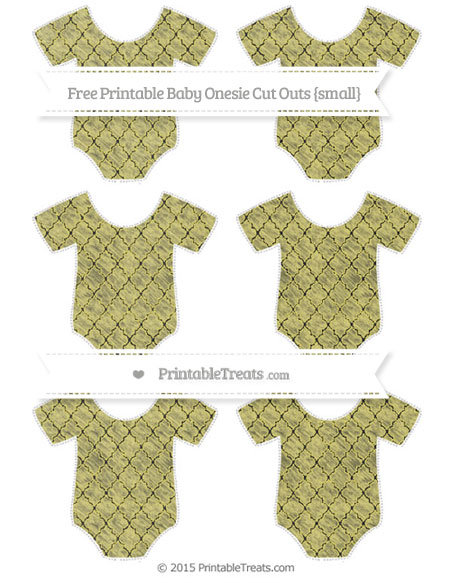 Free Straw Yellow Moroccan Tile Chalk Style Small Baby Onesie Cut Outs