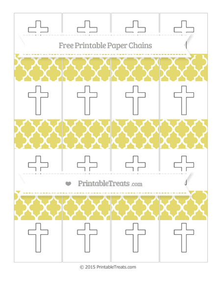 Free Straw Yellow Moroccan Tile Cross Paper Chains