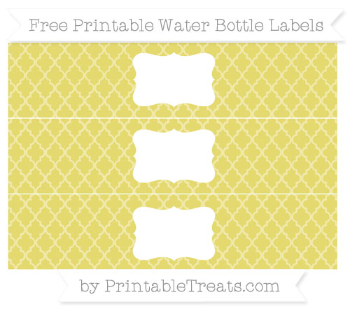 Free Straw Yellow Moroccan Tile Water Bottle Labels