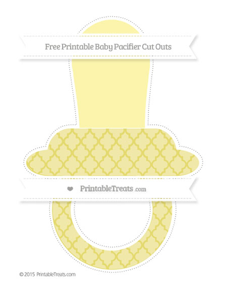 Free Straw Yellow Moroccan Tile Extra Large Baby Pacifier Cut Outs