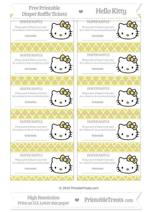 Free Straw Yellow Moroccan Tile Hello Kitty Diaper Raffle Tickets