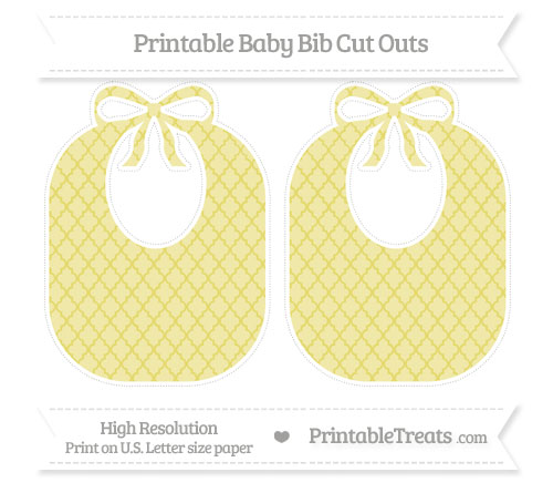 Free Straw Yellow Moroccan Tile Large Baby Bib Cut Outs