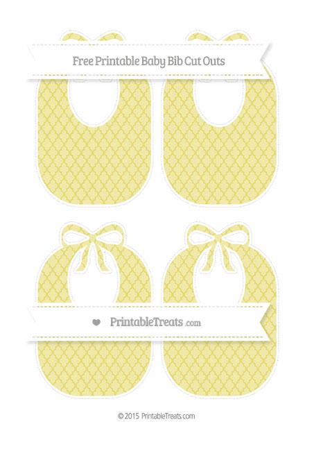 Free Straw Yellow Moroccan Tile Medium Baby Bib Cut Outs