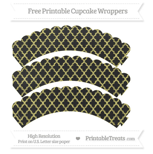 Free Straw Yellow Moroccan Tile Pattern Chalk Style Scalloped Cupcake Wrappers