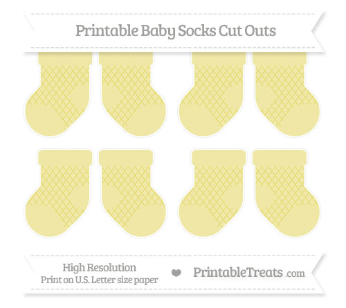 Free Straw Yellow Moroccan Tile Small Baby Socks Cut Outs