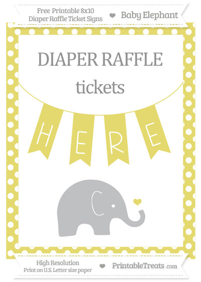 Free Straw Yellow Polka Dot Baby Elephant 8x10 Diaper Raffle Ticket Sign