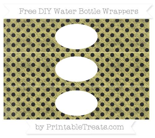 Free Straw Yellow Polka Dot Chalk Style DIY Water Bottle Wrappers