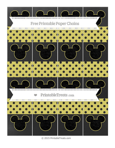 Free Straw Yellow Polka Dot Chalk Style Mickey Mouse Paper Chains