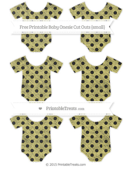 Free Straw Yellow Polka Dot Chalk Style Small Baby Onesie Cut Outs