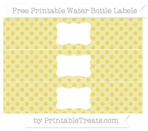 Free Straw Yellow Polka Dot Water Bottle Labels