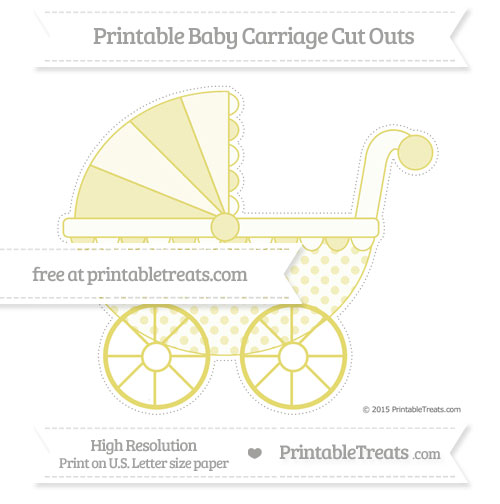 Free Straw Yellow Polka Dot Extra Large Baby Carriage Cut Outs