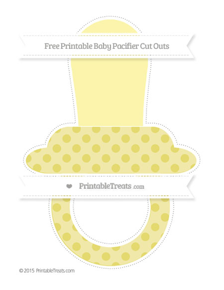 Free Straw Yellow Polka Dot Extra Large Baby Pacifier Cut Outs