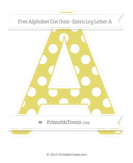 Free Straw Yellow Polka Dot Extra Large Capital Letter A Cut Outs