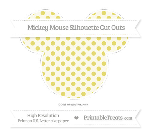 Free Straw Yellow Polka Dot Extra Large Mickey Mouse Silhouette Cut Outs