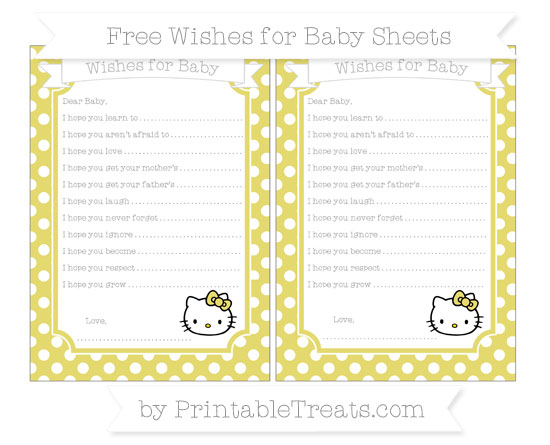 Free Straw Yellow Polka Dot Hello Kitty Wishes for Baby Sheets