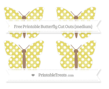 Free Straw Yellow Polka Dot Medium Butterfly Cut Outs