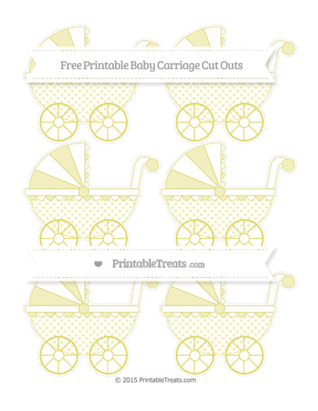 Free Straw Yellow Polka Dot Small Baby Carriage Cut Outs