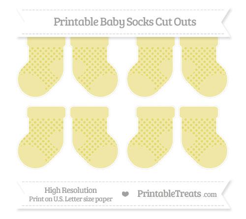 Free Straw Yellow Polka Dot Small Baby Socks Cut Outs