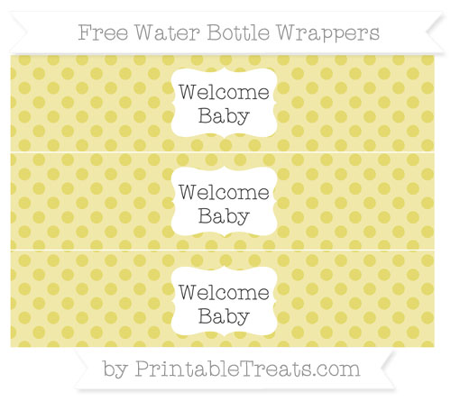Free Straw Yellow Polka Dot Welcome Baby Water Bottle Wrappers