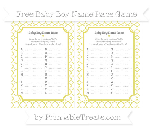 Free Straw Yellow Quatrefoil Pattern Baby Boy Name Race Game