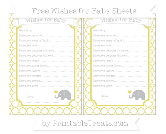 Free Straw Yellow Quatrefoil Pattern Baby Elephant Wishes for Baby Sheets