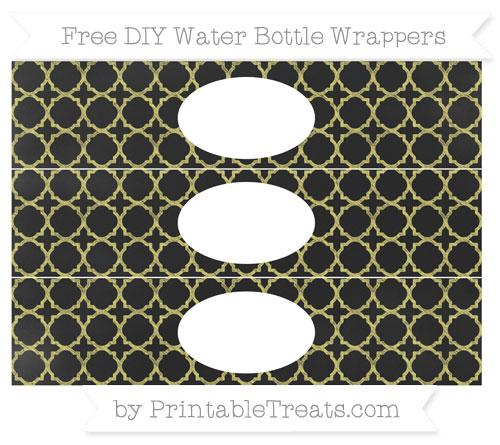 Free Straw Yellow Quatrefoil Pattern Chalk Style DIY Water Bottle Wrappers