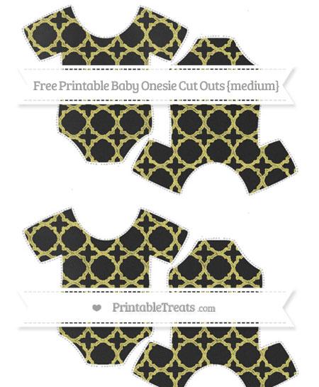 Free Straw Yellow Quatrefoil Pattern Chalk Style Medium Baby Onesie Cut Outs