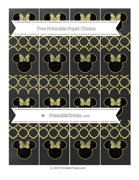 Free Straw Yellow Quatrefoil Pattern Chalk Style Minnie Mouse Paper Chains