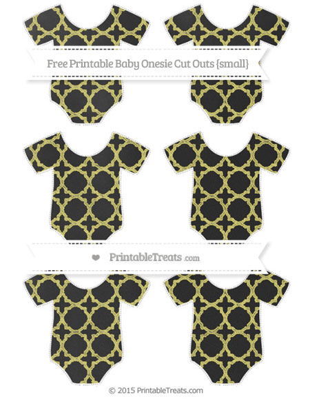 Free Straw Yellow Quatrefoil Pattern Chalk Style Small Baby Onesie Cut Outs
