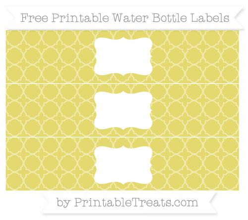 Free Straw Yellow Quatrefoil Pattern Water Bottle Labels