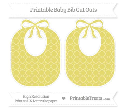 Free Straw Yellow Quatrefoil Pattern Large Baby Bib Cut Outs