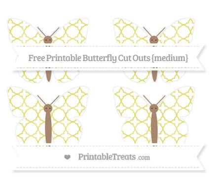 Free Straw Yellow Quatrefoil Pattern Medium Butterfly Cut Outs