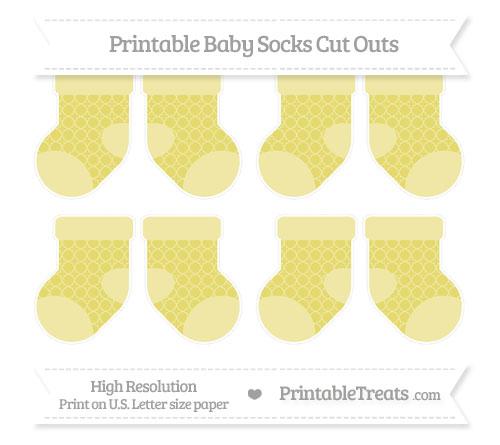 Free Straw Yellow Quatrefoil Pattern Small Baby Socks Cut Outs