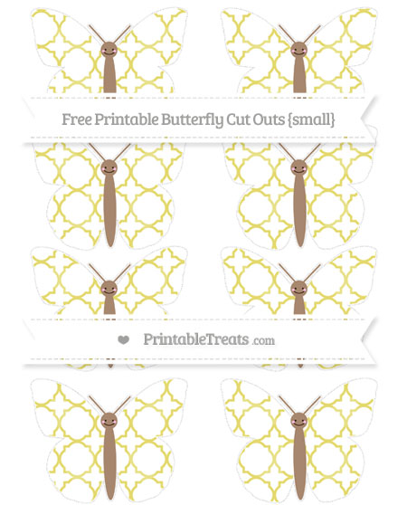 Free Straw Yellow Quatrefoil Pattern Small Smiley Butterfly Cut Outs