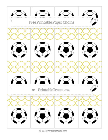 Free Straw Yellow Quatrefoil Pattern Soccer Paper Chains