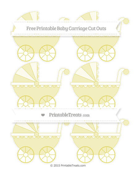 Free Straw Yellow Small Baby Carriage Cut Outs