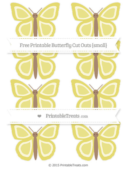 Free Straw Yellow Small Butterfly Cut Outs