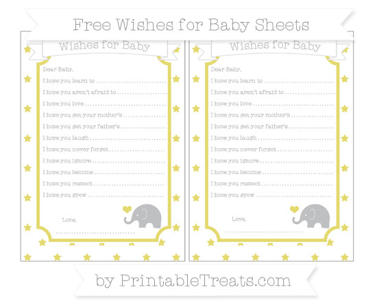 Free Straw Yellow Star Pattern Baby Elephant Wishes for Baby Sheets