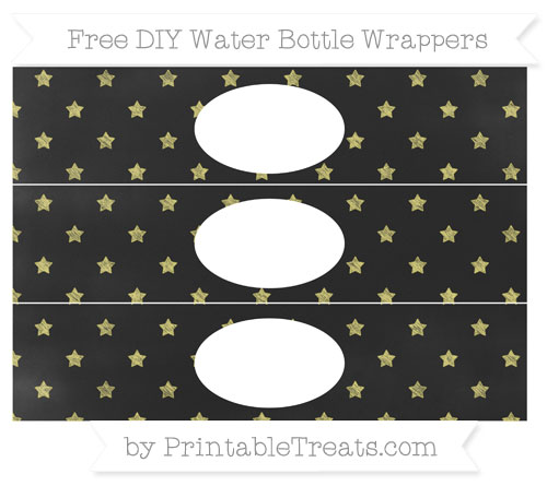Free Straw Yellow Star Pattern Chalk Style DIY Water Bottle Wrappers