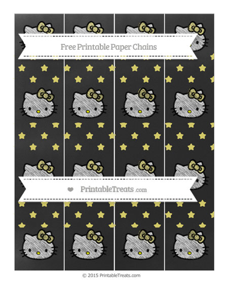 Free Straw Yellow Star Pattern Chalk Style Hello Kitty Paper Chains
