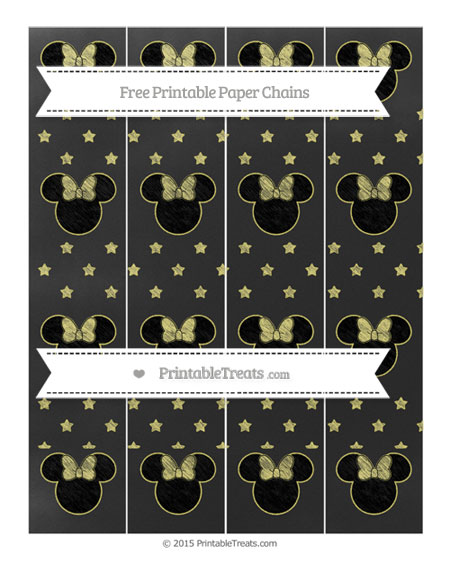 Free Straw Yellow Star Pattern Chalk Style Minnie Mouse Paper Chains