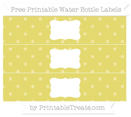 Free Straw Yellow Star Pattern Water Bottle Labels