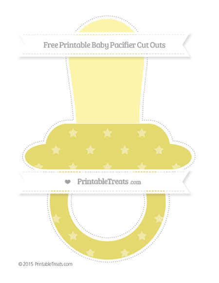 Free Straw Yellow Star Pattern Extra Large Baby Pacifier Cut Outs