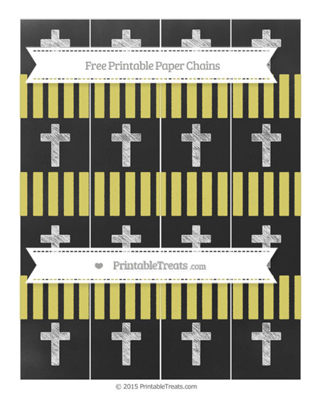 Free Straw Yellow Striped Chalk Style Cross Paper Chains