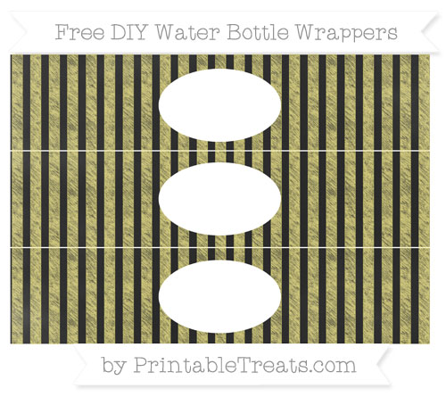 Free Straw Yellow Striped Chalk Style DIY Water Bottle Wrappers